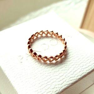 Pandora Linked Love, Rose Gold Ring #180177 + BOX